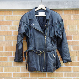Vintage Fringe Moto Leather Trench Coat Jacket